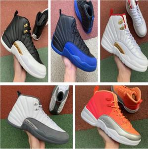 12 12s zapatos de baloncesto del Mens oscuro Concord NakeskinJordánJuego retro juego real de la gripe inversa hombres CNY Universidad de oro con el deporte zapatillas de deporte