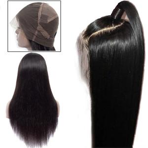 Brésil 360 Dentelle Frontal perruques de cheveux humains pour les femmes Remy Cheveux raides perruque avec bébé cheveux naturels Hairline pleine Fin