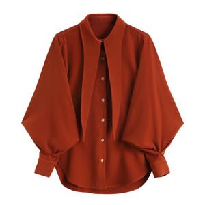 [EAM] 2019 Yeni Bahar Yaz Yaka Uzun Fener Kollu Kırmızı Gevşek Kişilik Şifon Gömlek Kadın Bluz Moda Gelgit JQ196