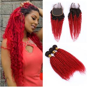 1B Красный кудрявый вьющиеся волосы ткет с кружева закрытия Красный Ombre наращивание волос с кружева закрытия афро кудрявый девственные Малайзийские волосы ткет