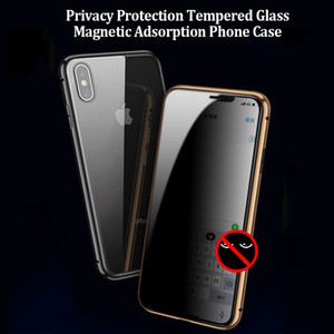 Luxury Privacy Magnetic Adsorption Tempered Glass Phone Case for iPhone XS MAX XR X 8 7 Plus Anti Peep Magnetic Case