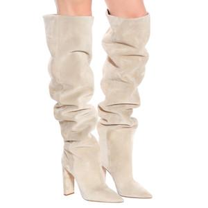 Donne Beige Faux Suede sopra il ginocchio alto Slouchy stivali a punta le dita dei piedi tacco grosso Slouch lunghi stivali inverno delle signore Scarpe con tacco