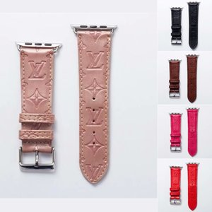 For Series 5 4 3 2 Designer Watchbands 38mm 42mm 40mm 44mm Luxury Wristband Leather Straps Smart Watch Straps Bands Fashion