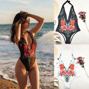 Mulheres V profundo Open Back Moda Hanging Neck New Imprimir Halter One Piece-Swimsuit