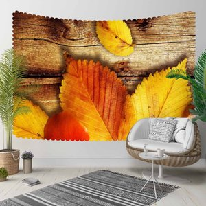 Else Brown Tree Wood on Yellow Orange Dried Leaves 3D Print Decorative Hippi Bohemian Wall Hanging Landscape Tapestry Wall Art