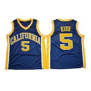 NCAA Kalifornien Golden Bears College # 5 Jason Kidd Basketball Jersey Vintage Marineblau Genäht Jason Kidd University Trikots Shirts S-XXXL