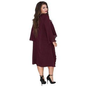 El diseñador de moda Crew Neck Dress Ashymmetrical Batwing Ropa de poliéster gasa floja ocasional ropa 6xl verano de las mujeres