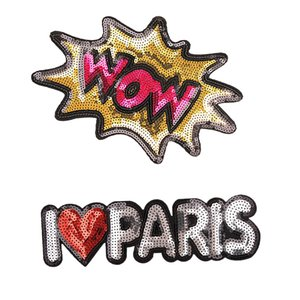 1PCS Sequined Funny Patches for Clothing Bags Jeans Jacket Iron on Transfer Applique Sequins Patch for Garment DIY Sew on Embroidery Badge