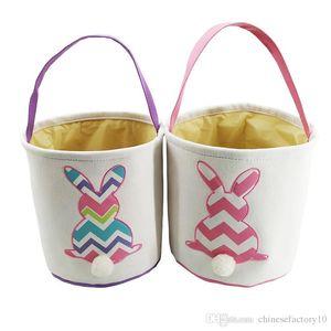 Easter Baskets Rabbit DIY Barrels Burlap Storage Bags Bunny Embroidered Wavy Rabbit Print Basket Handbags Rabbit Tail Basket Tote 4 Colors