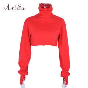 Artsu 빨간 섹시한 긴 소매 자르기 탑 Tshirt 여자 파워 터틀넥 낯선 것들 T 셔츠 티 셔츠 Femme Asts20252 S19715