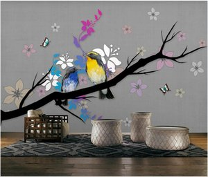 3d wallpaper custom photo mural Simple and stylish abstract flowers and birds mural TV background wall home decor wall art pictures