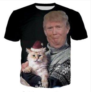 Erkek Kadın Moda Yaz Stil Trump Chritmas Komik 3D Tees Baskılı Kısa Kollu Yuvarlak Boyun Rahat T-shirt WR0107 Tops