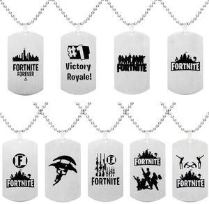 Fortnite Kolye Kolye Paslanmaz Çelik Etiketi Kale Gece Kolye Baskı Özelleştirilmiş Gravür Sıcak Oyun Hayranları Hatıra Çocuklar Takı