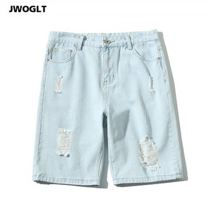 Summer Blue Denim Shorts Vintage Korean Casual Ripped Hole Harem Mens Ankle Length Distressed Ripped Short Jeans