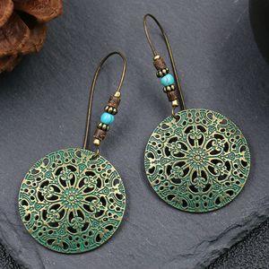Wholesale Creative Hollow Out Flower Butterfly Earring Round Metal Alloy Charm Earrings Women Ear Hook Hoop Eardrop Jewelry Party Gifts