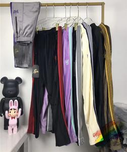 Embroidery AWGE Needles Sweatpants Men Women High Quality Butterfly Striped Joggers Velvet Needles Pants AWGE Sweatpants