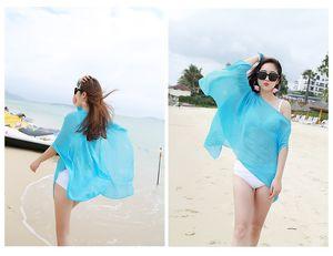Mujeres Beach Cover up Elegante traje de baño de gasa Bikini Cover Up Mujeres Sexy Sunscreen Cardigan Half Sleeve Summer Sheer Beach Scarf Shawls