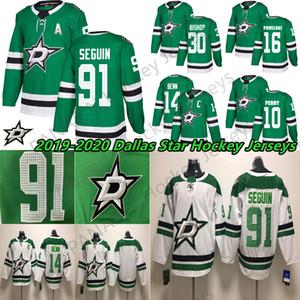 2019 новый сезон пользовательские Даллас Старс Джерси 14 Джейми Бенн 91 Тайлер Сегин 30 Бен Бишоп зеленый белый сшитые хоккейные майки бесплатная доставка