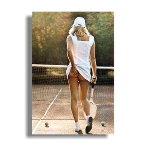 Теннис Девушка Плакат Плакат печать, 24x36 Бодибилдинг Мотивационной Art Silk печать Фитнес Вдохновенного Изображение для номера