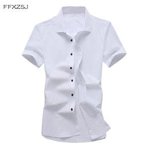 marca FFXZSJ FFXZSJ. cortocircuito de la camisa estilo casual nueva camiseta de color puro manga de los hombres de verano