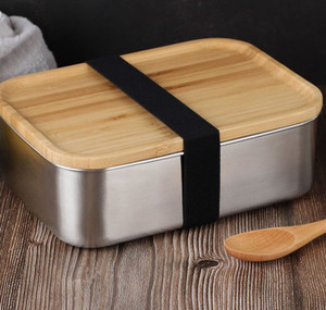 800ml Food Container Lunch Box with Bamboo Lid Stainless Steel Bento Box Wooden Top 1 layer Food Kitchen Container Easy for Take KKA7844