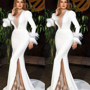 Chic 2020 Árabe sirena vestidos de baile con la pluma de manga larga de lado alto de Split formal vestidos de noche por encargo