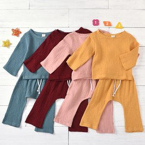 Baby Linen Clothing Sets Infants Long Sleeve Solid Tops + Long Pants 2pcs set Outfits Children Linen Cotton Home Pajamas Chothes M2008
