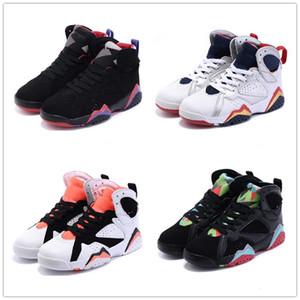 Kinder schwarz Jumpman 7s Basketballschuhe Jugend Sportschuhe Große Jungs Rot 7 Turnschuhe Kinder Chaussures de Korb Enfant 28-35
