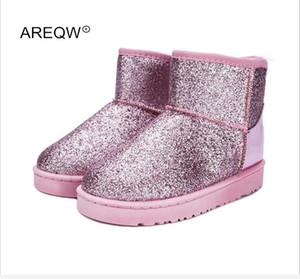 AREQW 2017 Nuevas Botas de Nieve de Invierno Lentejuelas Clásico de Mujer Botas Cortas Zapatos de Moda de Mujer Botas de Algodón Grueso