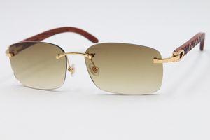envío libre de gama alta Sun gafas sin montura de madera 8200759 gafas de sol sin montura de metal de madera tallado del ajuste de lente gafas de sol unisex C Decoración