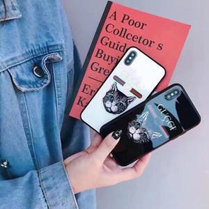 Luxury Glass moda patinata Cat Head Cases Designer del telefono per iPhone Pro 11 Max X XS MAX XR 6S 6 7 8 Inoltre Shell del cellulare della copertura posteriore della A06
