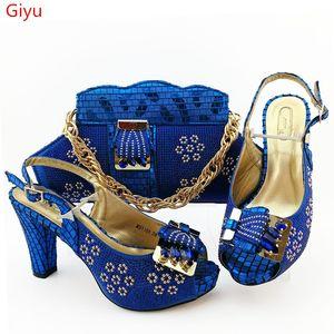 doershow Novas cor azul italianos Sapatos com harmonização de Bolsas Mulheres Africano Calçados e Bolsas Set Prom Party For Summer Sandal SGO1-6