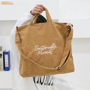 Lammei Corduroy Casual Women Handbag Embroidery Letter Canvas Shoulder Crossbody Bags Female Messenger Large Capacity Bag