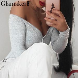 Glamaker Botones con hombros descubiertos body sexy rojo Body de mujer bodycon blanco mono de una pieza Mono de fiesta suave y delgado de primavera