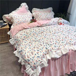 ropa de cama de la princesa del algodón establecido sábanas cuatro pices conjunto conjuntos diseño de jardines casa equipada cubierta sábana y funda de almohada