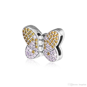 2019 Primavera 925 Reflexiones de Joyería de Plata Esterlina Bedazzling Clip de Mariposa Granos Adapta Pandora Pulseras Collar Para Las Mujeres Joyería