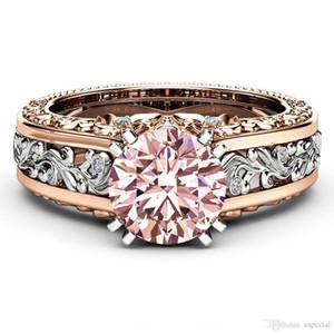 Pop alta USpecial USpecial 2019 nueva manera 18K Rose color de moda anillo de piedra de color topacio champán mayor anillo de color oro