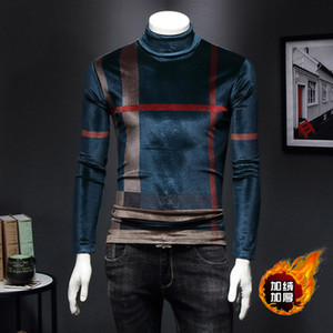 inverno dos homens T-shirt de manga comprida mais grossa de veludo camisa de gola alta para se manter aquecido veludo ouro Magro compassivo, mais grande onda de gordura