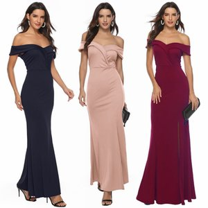 2019 Hot Sale Slash Neck Party Dress Plain Soft Comfort Desses Sexy Splt Night Club Dress Party Clothing Women LQ5175