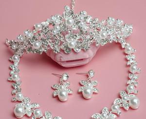 Sposa Pearl Corona Copricapo Matrimonio gioielli coreano Crown collana in tre pezzi Set
