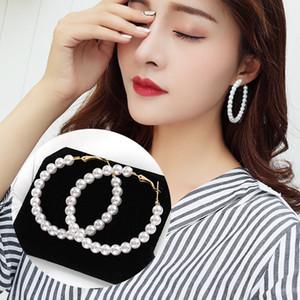 1 Pair Women Big Round Circle Earrings White Pearl Beaded Drop Dangle Hoop Earrings Wedding Party Jewelry wholesale