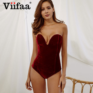 Viifaa Burgundy Strapless Velvet Sexy Bodysuit Mulheres Querida Bodycon Backless Lace Up Corpo Partido Neck 2019 V Bodysuits MX200402