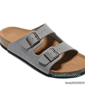 Men's Flat Sandals Women Casual Shoes Double Buckle Famous Arizona Summer Beach Top Quality Genuine Leather Slippers With Orignal Box c04