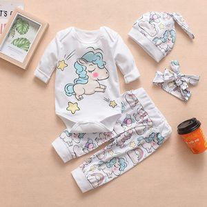 4pcs / 세트 아기 만화 rompers 어린이 무지개 유니콘 공룡 편지 인쇄 디자이너 옷은 롬퍼 바지 모자 머리띠를 포함합니다 HHA577