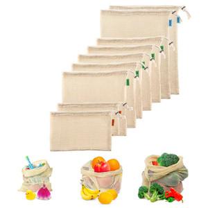 3pcs Set Reusable Cotton Mesh Grocery Shopping Produce Bags Vegetable Fruit Fresh Bags Hand Totes Home Storage Pouch Drawstring Bag Net DHL