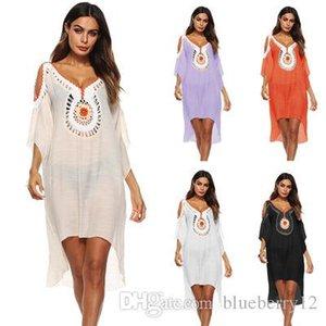 BOHEMIAN BOHO Dress Estate ricamo Donne Donne Batwings Sleeve Beach Dress Sexy V-Neck Summer Summer Abito Abito asimmetrico Dimensione libera