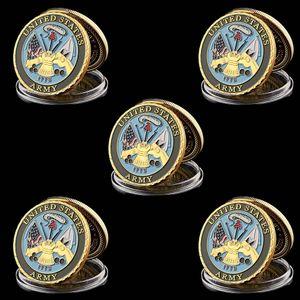 5pcs Il reparto degli Stati Uniti Army Navy 1 oz Gold Plated Valori di Base Militare sfida Coin Collezionismo