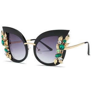 European and American diamond large frame ladies sunglasses cat eye sunglasses sunglasses women