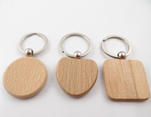 Wooden Keychain Blank Wood key chain Car Bag Pendant A variety of shapes round square heart Key Ring Party Favor GGA2773