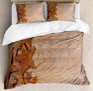 Set de funda nórdica occidental Fondo de madera de estrellas oxidadas envejecido Antiguo Diseño de país de época Juego de cama Naranja oscuro